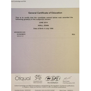 A-level Economics certificate